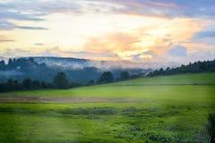 Заход солнца Арденн Стоковое Изображение