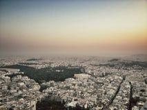 Заход солнца Афины Стоковые Изображения