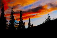 заход солнца Аляски Стоковое Изображение