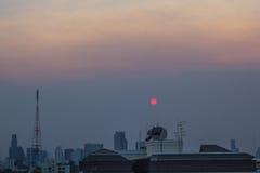 Заход солнца Бангкок стоковая фотография rf
