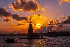 Заход солнца башни девушек Стоковые Фотографии RF