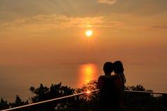 заход солнца Балтийского моря предпосылки Стоковые Фотографии RF