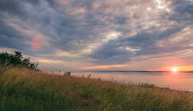 заход солнца Балтийского моря Стоковая Фотография RF