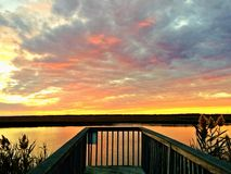 Заход солнца берега Джерси Стоковые Изображения RF