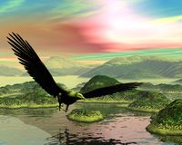 Заход солнца белоголового орлана иллюстрация штока