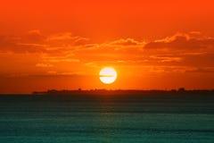 Заход солнца бирюзы стоковые фото