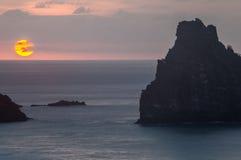 Заход солнца Брат Фернандо de Noronha Остров Стоковое Изображение RF