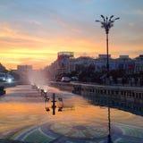 Заход солнца Бухареста Стоковое Изображение