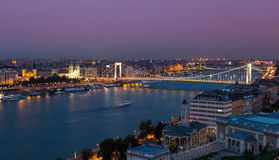 Заход солнца Будапешта Стоковое Изображение