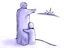 Заход солнца вахты сына отца Стоковое фото RF
