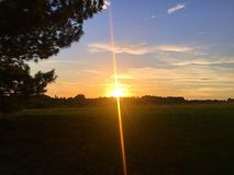 Заход солнца весной стоковая фотография rf