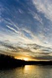 Заход солнца весны в моем городке Стоковая Фотография RF