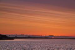 Заход солнца ветротурбины Стоковое Фото