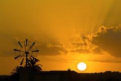 Заход солнца ветрянки Mallorcan Стоковое фото RF
