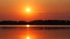 Заход солнца вечера на озере. Русский Стоковая Фотография RF