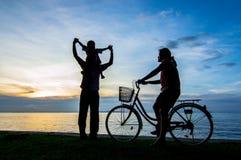 Заход солнца велосипеда Стоковое Изображение
