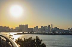 Заход солнца взгляда залива токио от Odaiba Стоковое Изображение