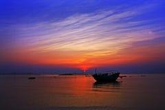 Заход солнца взморья Стоковая Фотография