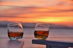Заход солнца вискиа Стоковая Фотография