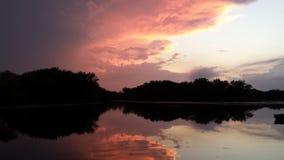 Заход солнца Висконсин реки Миссисипи Стоковая Фотография RF
