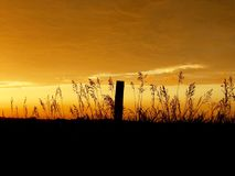 Заход солнца вне Atchison Канзаса Стоковая Фотография RF