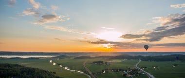 Заход солнца воздушного шара Стоковое Изображение