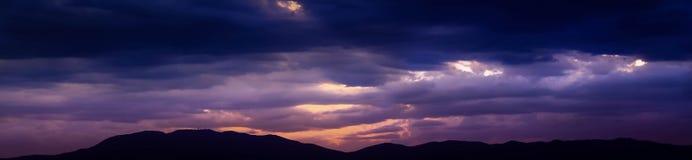 Заход солнца/восход солнца панорамы Стоковое Изображение