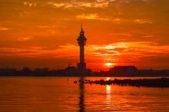 Заход солнца (восходящее солнце в утре) Стоковая Фотография