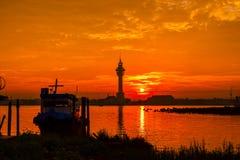 Заход солнца (восходящее солнце в утре) Стоковые Изображения RF