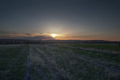 Заход солнца в апреле в Небраске Стоковые Изображения
