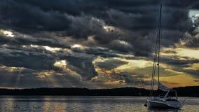 Заход солнца в архипелаге Стокгольма Стоковые Изображения RF