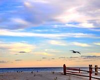 Заход солнца в Атлантик-Сити, NJ Стоковое фото RF