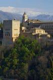 Заход солнца в Альгамбра Стоковая Фотография