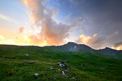 Заход солнца в Альпах Стоковое Изображение