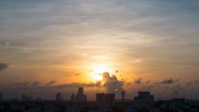Заход солнца в Бангкоке, Таиланде Стоковое Фото