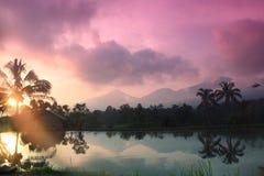 Заход солнца в Бали Стоковое Изображение RF