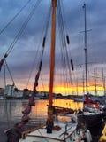 Заход солнца в Бергене, Стоковые Фото