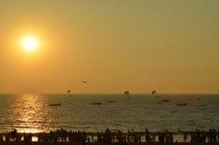 Заход солнца в берегах Goa Стоковые Изображения