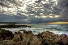 Заход солнца в береговой линии Cantabric Стоковое Изображение