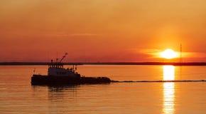 Заход солнца в белом море Стоковые Фотографии RF