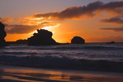 Заход солнца в Биаррице стоковая фотография rf