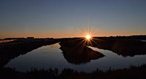 Заход солнца в болоте Стоковые Фотографии RF