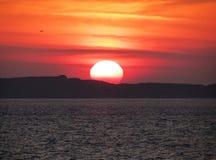 Заход солнца в Бретани, Святом-Malo, Франции Стоковые Фото