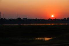Заход солнца в Вьентьян Стоковое фото RF