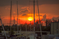 Заход солнца в гавани/гавани Стоковая Фотография RF
