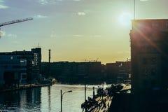 Заход солнца в гавани/гавани Стоковое Изображение