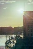 Заход солнца в гавани/гавани Стоковые Изображения RF