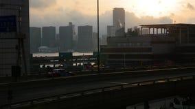 Заход солнца в Гонконге сток-видео