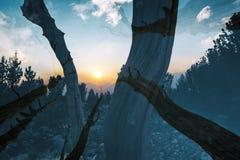 Заход солнца в горах, удваивает подверганный действию Стоковая Фотография RF