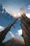 Заход солнца в горах, удваивает подверганный действию Стоковое Фото